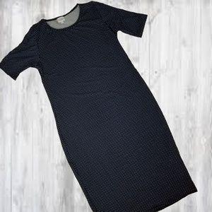 Lularoe Julia Dress L Navy Polka dot Leggings